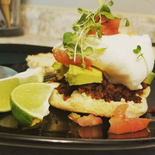 breakfast Breakfast Chorizo Poached Eggs  Poached Egg Egg Microgreens Avocado Cooking At Home Cooking SLICE Fruit Close-up Food And Drink