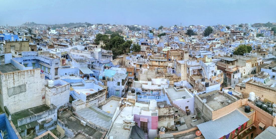 High Angle View Cityscape Crowded Travel Destinations City Architecture Jodhpur India Blue Walls Rajasthan Built Structure Architecture Finding New Frontiers Huawei_P9 Huawei Smartphones City WOW Indiatravelgram Panorama View Blue Vastness Awesome From The Rooftop