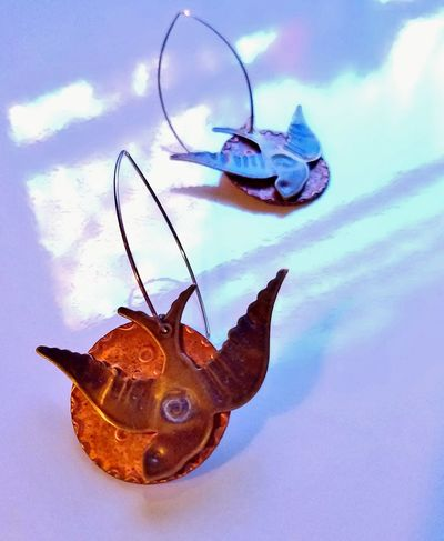 Peace Dove, by RaDesign. Exclusively Handmade in Sterling, Copper and Antique Brass. Close-up Day Earrings ❤ Exclusive  Handmade For You Jewelry Designer Nature No People Outdoors Sky RaDesign Fine Art