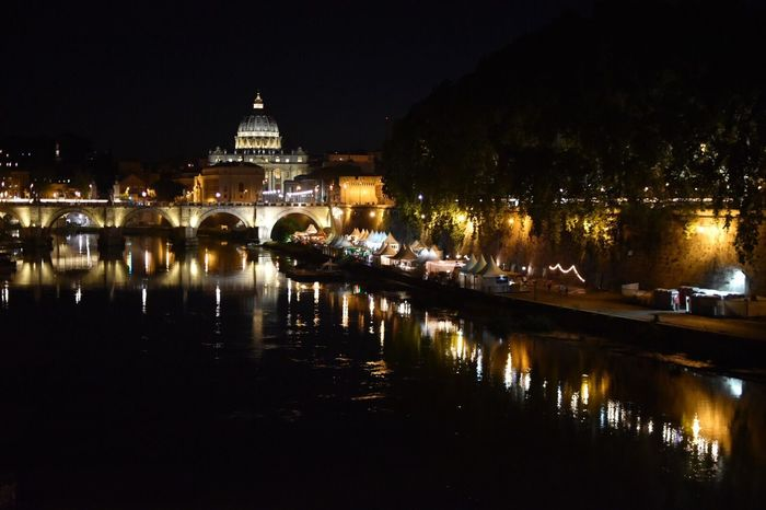 Roma By Night Tevere River Saint Peter's Basilica