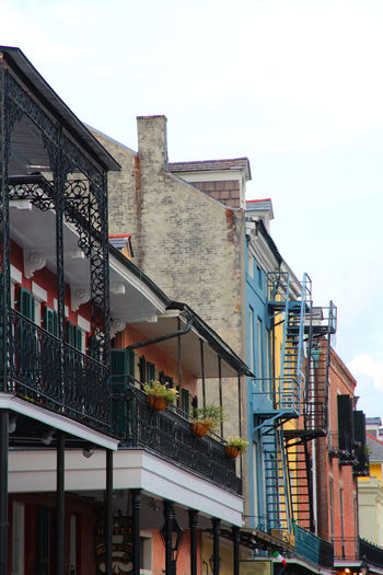 Architecture Balcony Building Exterior Built Structure Burbon Street Fire Escape Stairs Iron Iron Work New Orleans No People Railing