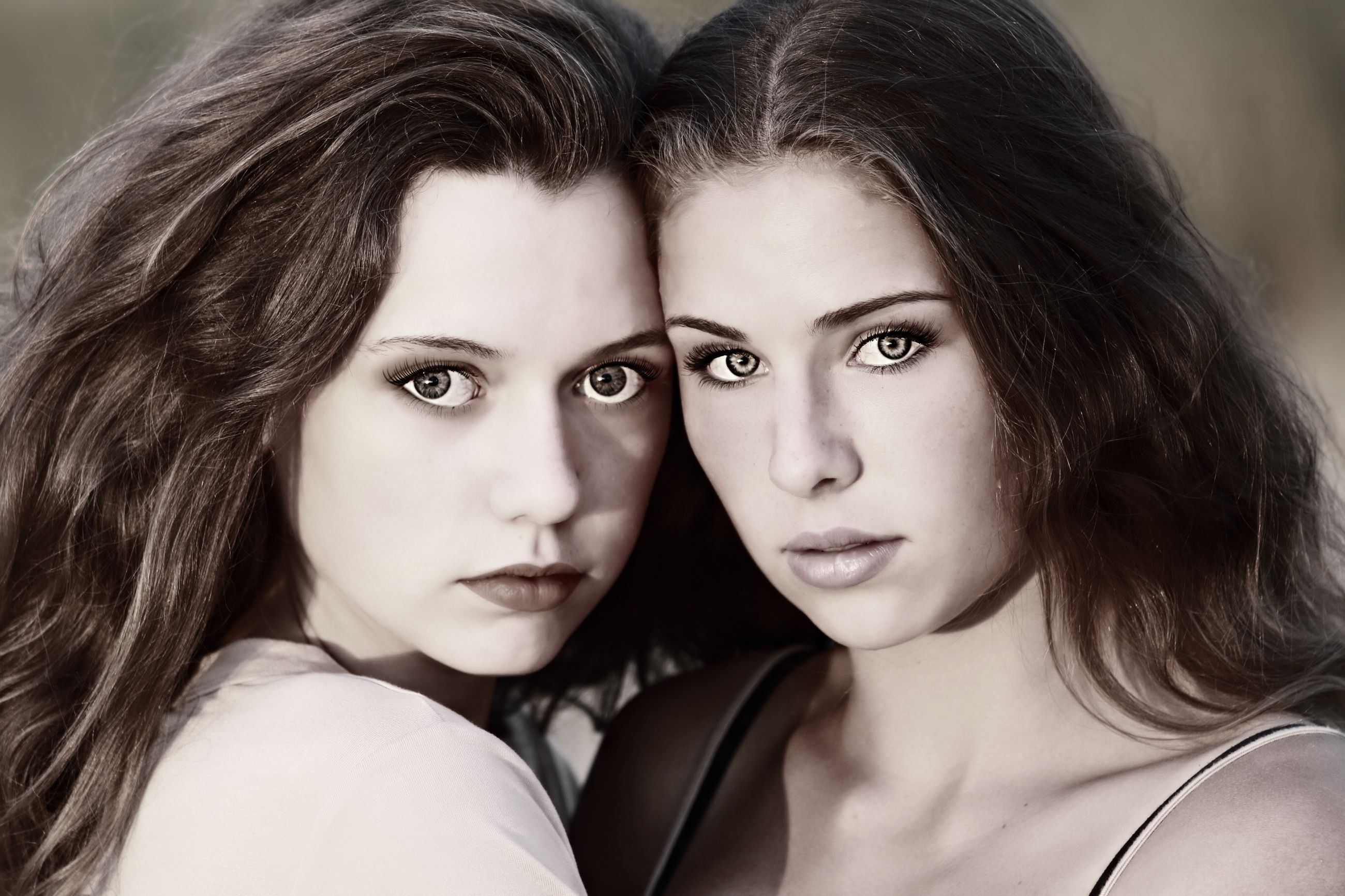 portrait, women, portrait photography, adult, looking at camera, togetherness, two people, young adult, headshot, photo shoot, person, black and white, hairstyle, long hair, female, friendship, human face, emotion, love, child, brown hair, close-up, monochrome, positive emotion, bonding, monochrome photography, teenager, human hair, lifestyles, fashion, human eye, serious, clothing, indoors