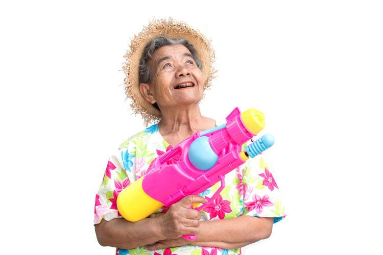 Adult Fun Happy Joyful Songkran Festival Woman Enjoyment Water Gun White Background