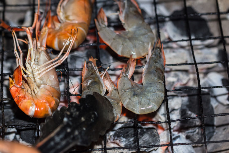 High Angle View Of Shrimps On Metal Grate Over Burning Charcoal