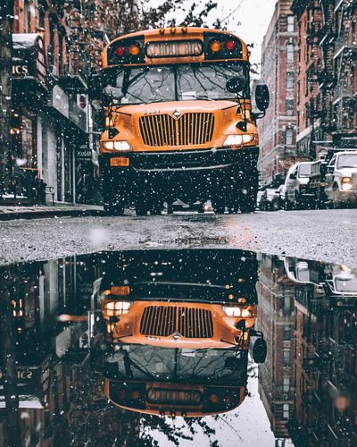 Digital composite image of city street during winter
