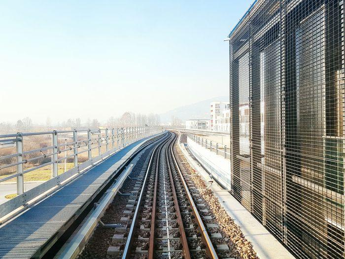 High Angle View Of Railroad Track On Bridge