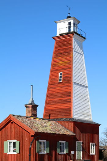 Architecture Archival Blue Brick Wall Building Exterior Built Structure Wooden House Bönan Light House Eos 80d Flag High Resolution History Lighthouse No Edit/no Filter No People Outdoors Red Tower