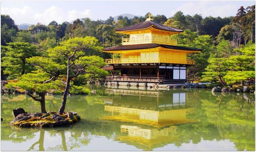 Kinakuji shrine pavilion by lake