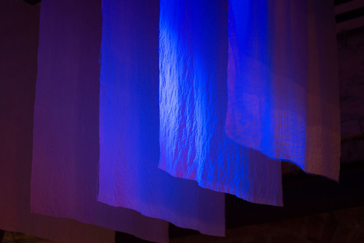 Blue diagonal Blue Lights  Hanging Textile Pattern Diagonal 3D Dark Abstract Capture Tomorrow