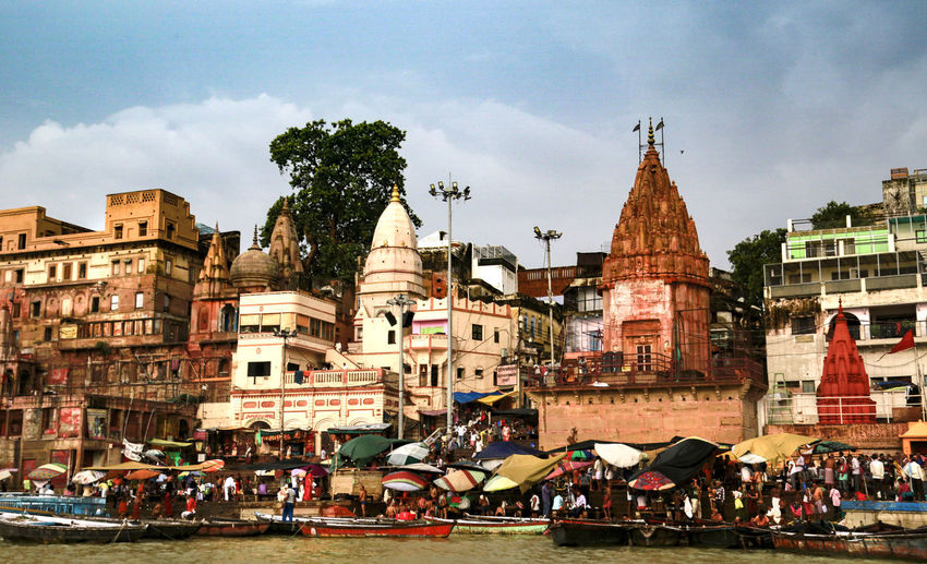 The Ganges Varanasi, India Ganges, Indian Lifestyle And Culture, Bathing In The Ganges, Architecture Belief Building Exterior Built Structure Place Of Worship Religion Spirituality The Ganges River Travel Destinations