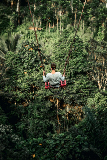 Rear view of man on rope in forest