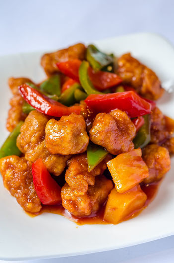 Asian  Chinese Food Meal Pork Sweet And Sour Pork Food Food And Drink Foodphotography Freshness Garnish Gourmet Healthy Eating Indoors  Meat No People Organic Pepper Pinapple Plate Ready-to-eat Still Life Table Tabletop Wellbeing Yummy