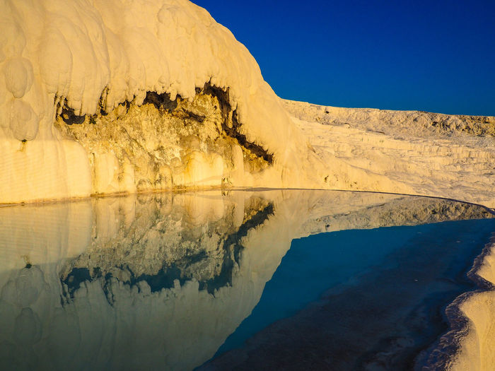 Scenic View Of Hot Spring Against Clear Blue Sky At Pamukkale