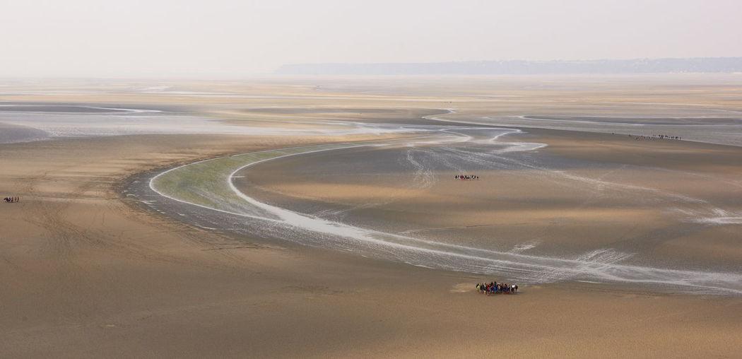 High angle view of desert against sky