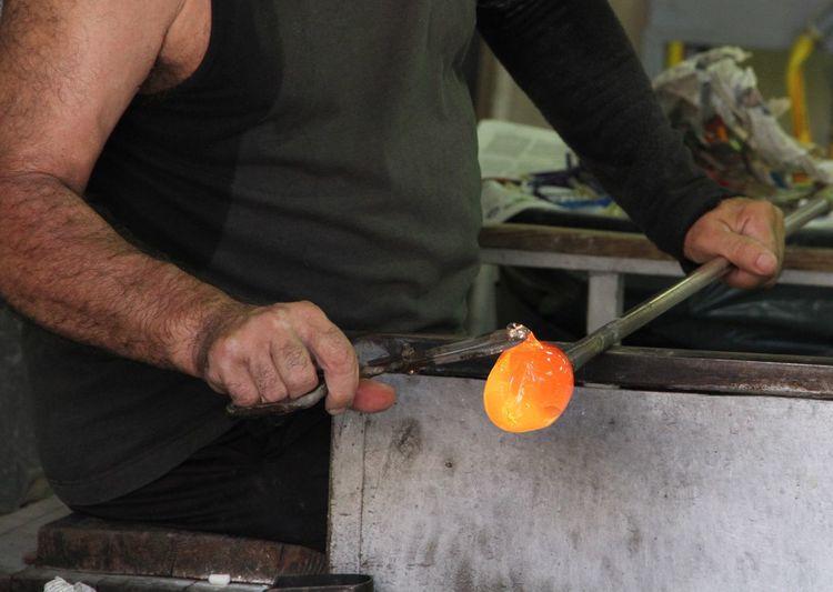 Burano Glass blower at work