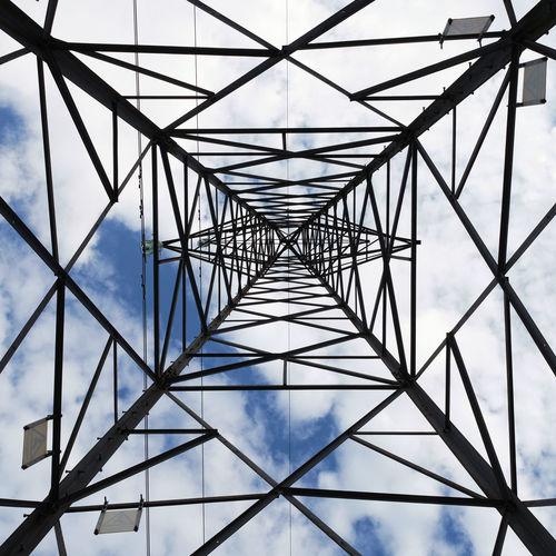 Vertical overhead view of a power pylon.