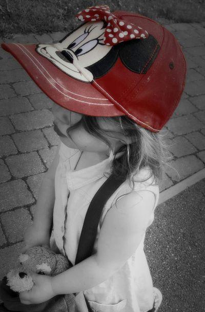 Blackandwhite Monochrome Toddler  Minimouse Red Portrait