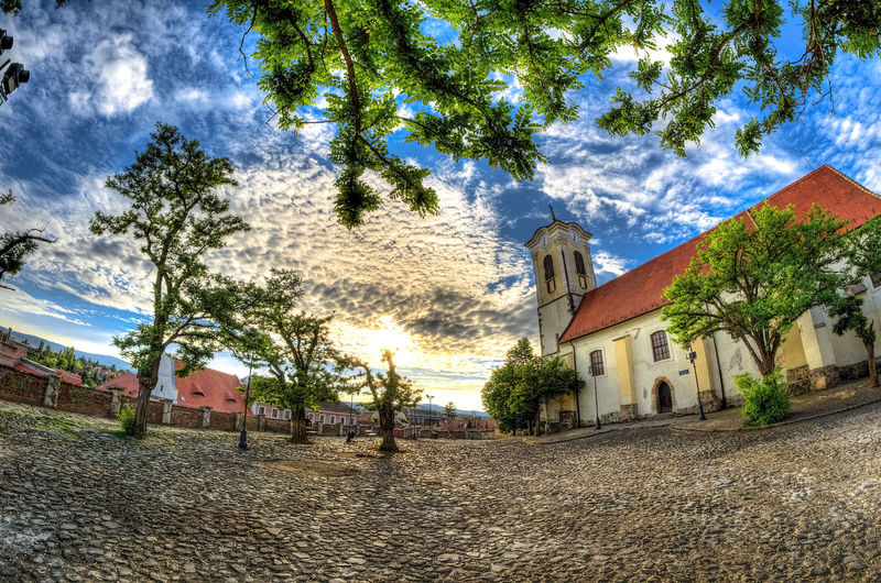 Building Buildings Church Churchtower City Cityscapes Clouds Clouds And Sky Cobblestone Fisheye Nikkor Nikon Nikon D7000 Nikonphotography Old Old Buildings Sky Skyporn Square Sunset Szentendre Tower Town Tree Trees