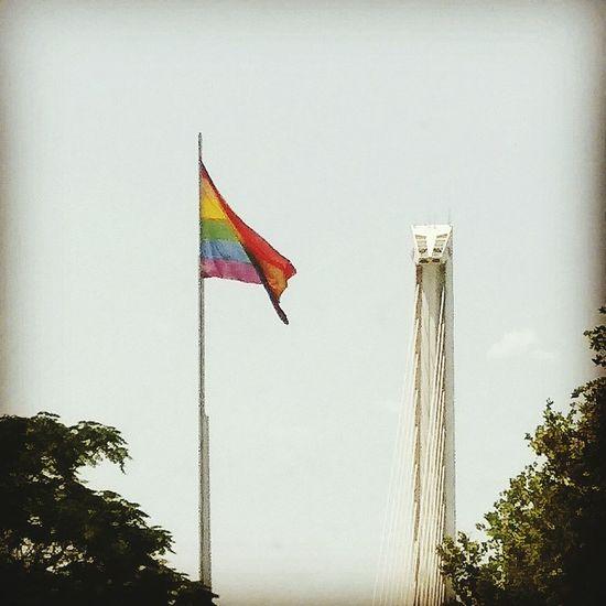 Orgullo Gay 2017 City Architecture Puente Del Alamillo Flag Sevilla