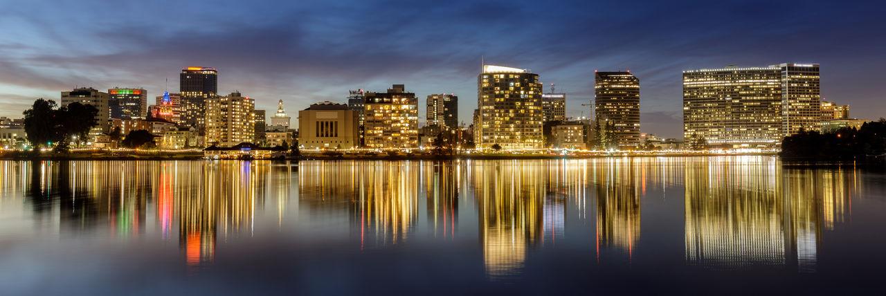 Dusk reflections of downtown oakland via lake merritt
