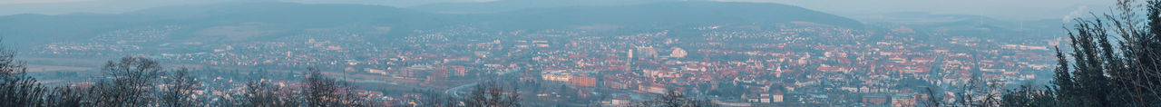 City Cityscape Hameln Panorama Fog High Angle View Outdoors Sunset
