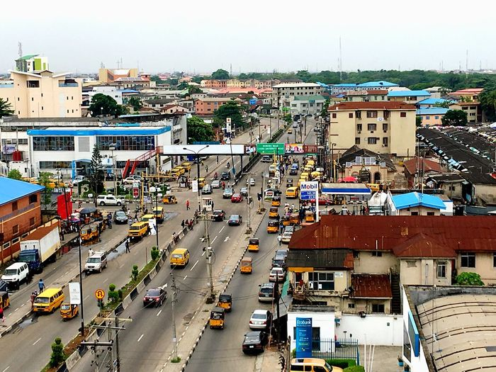 Yellow Lagos. Transportation City High Angle View Mode Of Transportation Architecture Land Vehicle Building Exterior Road Street Outdoors First Eyeem Photo EyeEmNewHere
