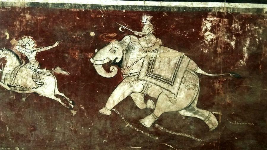 Animal Themes Oldwar RajasthanArt Old Painted Wall Miles Away