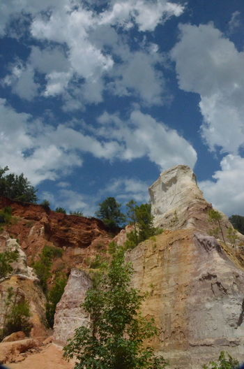 Providence Canyon State Park, Georgia, United States Beauty In Nature Cloud - Sky Day Eroded Formation Geology Land Low Angle View Mountain Mountain Peak Nature No People Non-urban Scene Outdoors Plant Rock Rock - Object Rock Formation Scenics - Nature Sky Solid Tranquil Scene Tranquility Travel Destinations