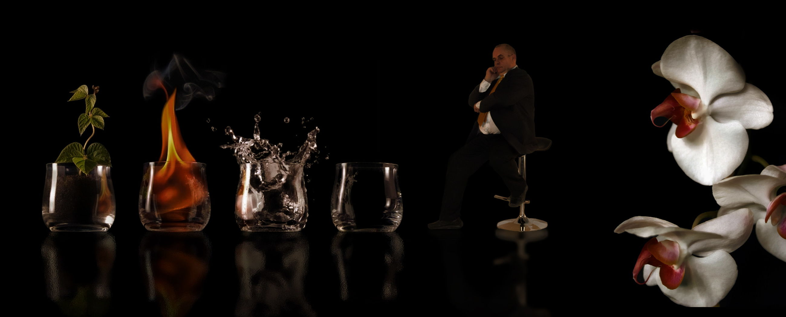 indoors, table, black background, studio shot, reflection, still life, glass, glass - material, nature, food and drink, drinking glass, representation, no people, panoramic, vase, flower, household equipment