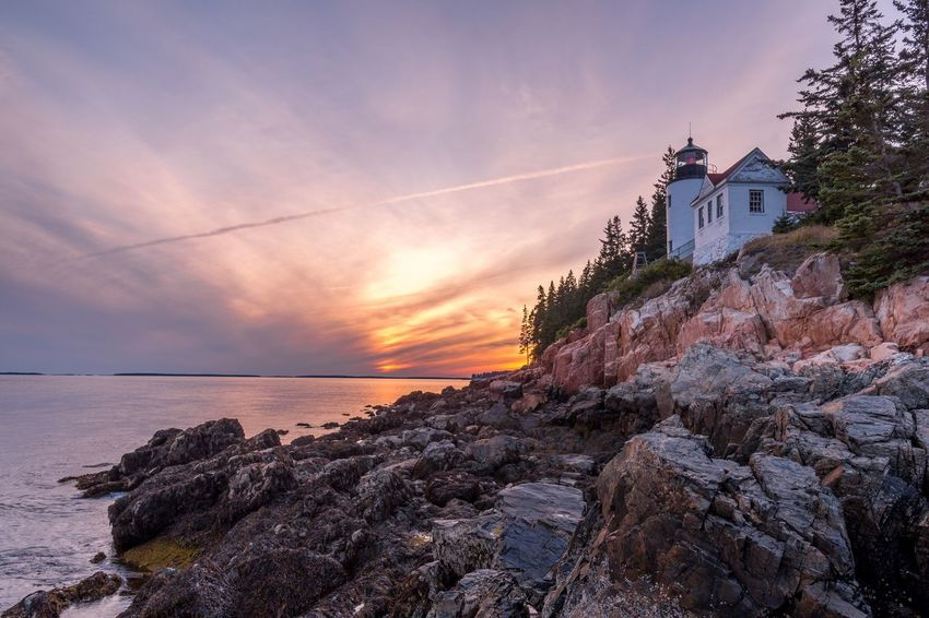 Bass Harbor Head Lighthouse Sunset Acadia National Pak Bass Harbor Lighthouse Ocean Sea Water Sky Architecture Building Exterior Built Structure Sunset Cloud - Sky Beauty In Nature Land Horizon Over Water Horizon Scenics - Nature Tree