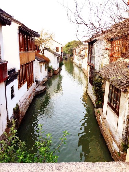Zhouzhuang House By The River Old Chinese Building Chinese Architecture South Of China Cold Weather Green Scenery Serene Outdoors Travel Destinations Bridge Over Water Standing On A Bridge