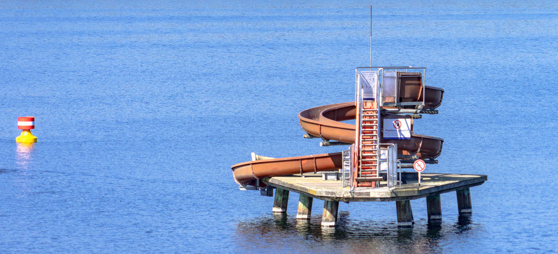 Lifeguard hut floating on water