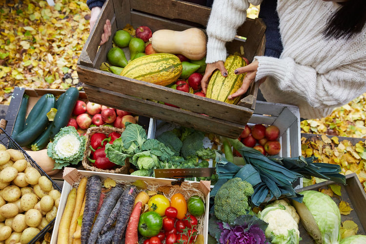 Fruits and vegetables in market stall