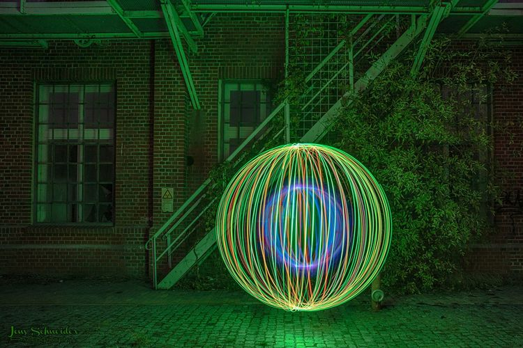 Illuminated light painting at night