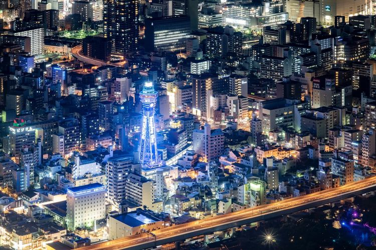 High angle view of city lit up at night, took at the highest building in japan