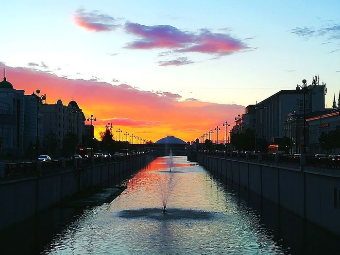 Sunset Water Cloud - Sky Sky City Photooftheday Streetphoto_color Sunset_collection Kazan2017 Streetphotography Beautiful Fire World Of Color Colors Street Kazan Russian Federation Summer Time