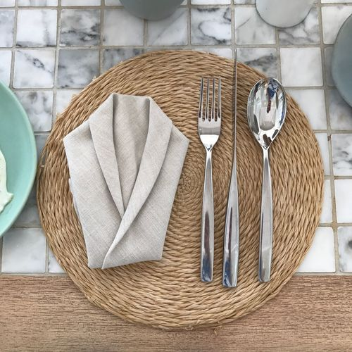 High angle view of place setting on placemat