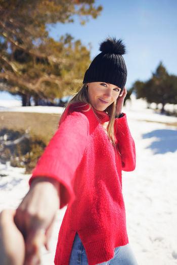 Happy girl in snow