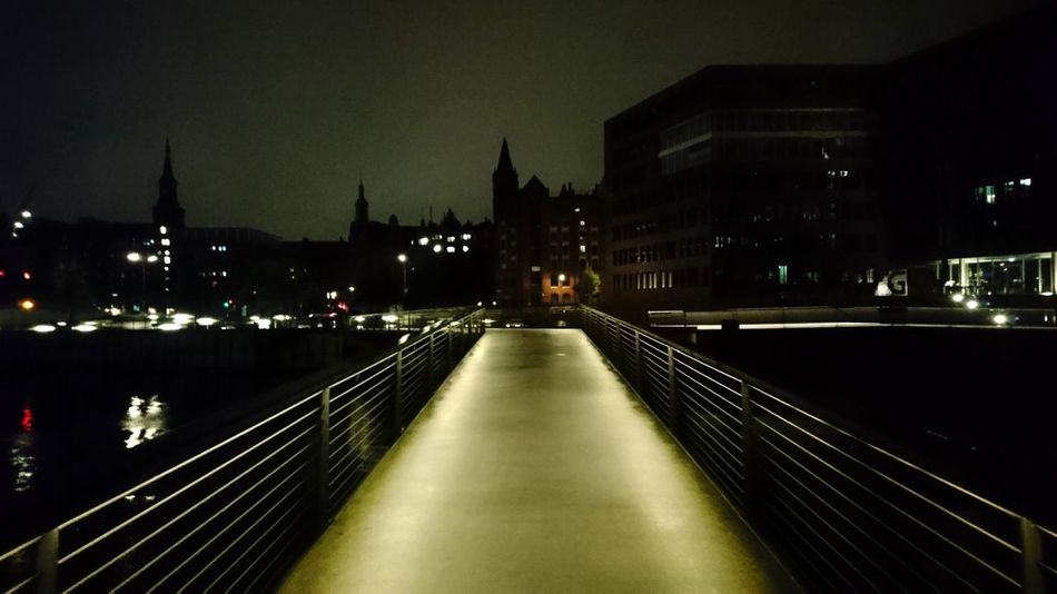 HafenCity. Hamburg Germany Hh Hamburg Meine Perle Hafencity Ahead Bridge Lighting Light And Shadow Darkness darkness and light Silhouette Night Night Photography Symmetry Mood Night Illuminated Architecture Bridge - Man Made Structure Building Exterior No People Built Structure