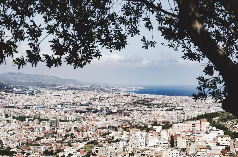 Barcelona hideout SPAIN Barcelona Landscape City Cityscapes City Life Urban Urban Landscape Urbanphotography Ocean View Ocean Sea Sea And Sky Horizon Over Water Horizon Mountains Tree Scope Frame