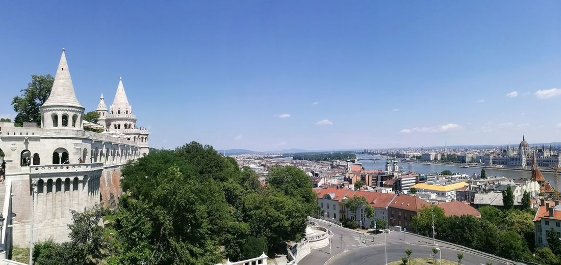 Danube Budapest View Hungary Travel Destinations Panoramic Sky Day Town Built Structure Outdoors City Building Exterior Architecture Cityscape High Angle View Mathias Chuch