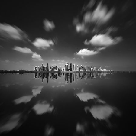 Sky Water Cloud - Sky Reflection Architecture Built Structure Waterfront Building Exterior Sea Outdoors City Building No People Tranquility Scenics - Nature Motion Travel Destinations Doha Qatar Long Exposure Black And White Skyline Westbay
