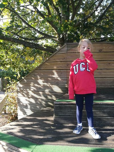 Full Length Tree Casual Clothing Day Red AT THE ZOO Hoodie Child Girl Autumn Light And Shadow