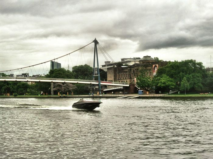 Old Buildings Städel Museum Modern Bridge ArchitectureBuilt Structure Riverside Photography Riverview Speedboat On The River Cloudy Skies Gray Sky River Water Waterfront Cityscape Outdoors Day Frankfurt Am Main Germany🇩🇪