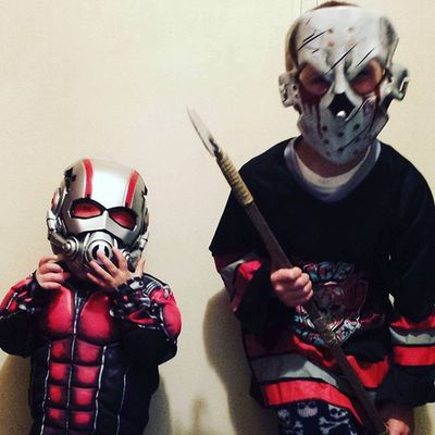 The spookiest boys I've ever seen😭 😈👻🎃🐜🔪Happyhalloween Booger Halloween2015 Antman