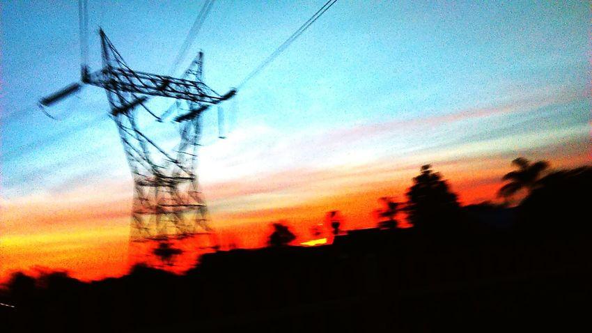 Enjoying an evening walk. Sunset