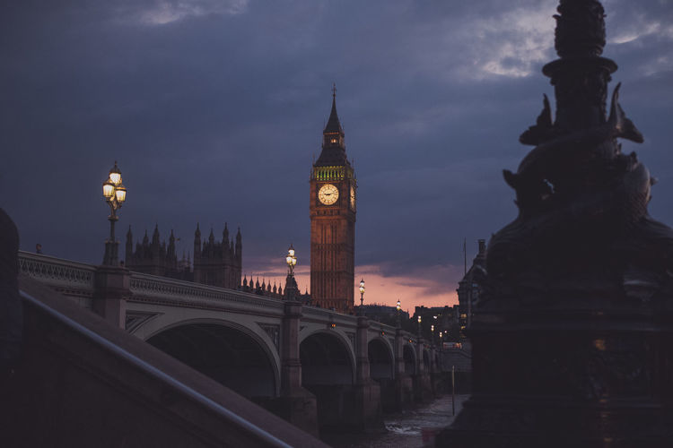 Westminster bridge over thames river against big ben