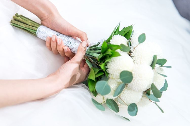 Adult Adults Only Bouquet Bride Bridegroom Close-up Day Flower Food Freshness High Angle View Human Body Part Human Hand Indoors  One Person One Woman Only People Wedding Women
