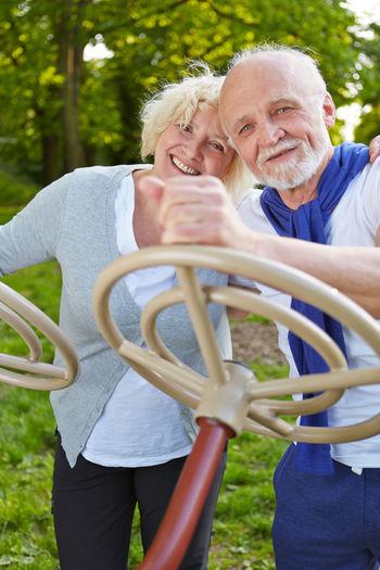 Portrait Of Senior Couple At Park