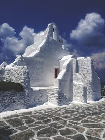 Cloud - Sky Sky Outdoors Travel Destinations No People Architecture History Classic Mykonos,Greece Built Structure Light Building Exterior Eye4photography  Mykonostown Street Photography Quiet Church Architecture Typical Architecture Architecture_collection Architecturephotography Architectureporn EyeEm Gallery Mykonos Blue And White